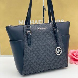 Michael Kors Charlotte Tote Shoulder Bag Black